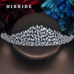 HIBRIDE Luxury Marquise Cut CZ <b>Wedding</b> Crown Bride Fashion <b>Jewelry</b> Woman Tiara Hair Accessories Engagement Gifts C-63