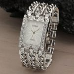 New Women Watch Luxury Wrist Watch Analog Quartz Watches Stainless Steel Fashion Rhinestone <b>Bracelet</b> Three Chains Gifts <b>Silver</b>