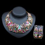 LAN PALACE dubai gold <b>jewelry</b> sets for women vrouwen austrian crystal <b>necklace</b> and earrings wedding <b>necklace</b> free shipping