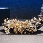 Exquisite Gold Flower Hair Combs For Bride Rhinestones Pearl Wedding Headdress Hair <b>Jewelry</b> Crystal Hair Accessories Trombone