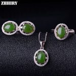 Women Natural Green Jasper Gemstone Jewelry Sets Genuine 925 Sterling <b>Silver</b> Ring <b>Earrings</b> Necklace Pendant ZHHIRY