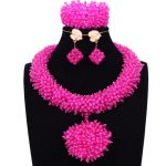 Nigerian Bridal <b>Jewelry</b> Set Fuchsia / Hot Pink Bride Necklace Set African beads <b>Jewelry</b> Crystal <b>Handmade</b> Big Ball Jewellery Set