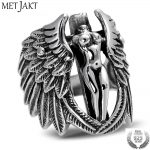 MetJakt Vintage Holy Headless Guardian Angel Ring Solid 925 <b>Sterling</b> <b>Silver</b> Ring for Men Punk Rock Thai <b>Silver</b> <b>Jewelry</b>