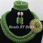 <b>Handmade</b> Green Nigerian Wedding African Beads <b>Jewelry</b> Set Crystal Beads African Costume <b>Jewelry</b> Set Free Shipping ABF028