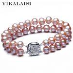 YIKALAISI 2017 Natural Freshwater Pearl <b>Bracelet</b> 8-9mm Pearl 18cm Women Pearl Jewelry <b>Bracelet</b> With 925 sterling <b>silver</b> jewelry