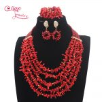 New <b>Handmade</b> Nigerian Wedding African Red Coral Beads <b>Jewelry</b> Set Red Coral Beads Necklace <b>Jewelry</b> Set Free Shipping W13896
