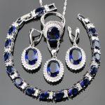 Blue Zirconia 925 Sterling Silver Bridal <b>Jewelry</b> Sets For Women Earrings Ladies Bracelet Rings Neclace Set Jewellery Gift Box
