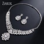 ZAKOL Luxury Flower Shape Crystal Cubic Zirconia Women <b>Jewelry</b> Sets Wedding Bride Dress Accessories Wedding Show FSSP379