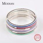 MODIAN Authentic 100% Solid 925 Sterling <b>Silver</b> <b>Bracelet</b> Fashion Chain Green Blue Enamel Bangle Cubic Zirconia Luxury Jewelry