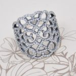 Authentic 925 Sterling Silver Ring Openwork Shimmering Lace With Crystal Ring For Women Wedding Party Gift Fine Europe <b>Jewelry</b>