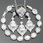 White Zirconia <b>Silver</b> 925 Costume Jewelry Sets Women <b>Bracelets</b> Pendant Necklace Earrings Rings Stones Set Jewellery Gift Box