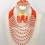 <b>Handmade</b> Pink Coral Beads Wedding <b>Jewelry</b> Set New Fashion 2017 Indian Bridal <b>Jewelry</b> Set African Beads Set Free Shipping ABY472