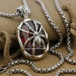 Huge & Heavy 925 Sterling <b>Silver</b> Red CZ Spider Skull Mens Biker Pendant 9J018(<b>Necklace</b> 24inch)