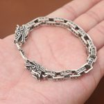 Real Pure 925 <b>Sterling</b> Siler Mens Bracelets Double Dragon Heads Six Words Engraved Link Chain Mantra Buddha <b>Jewelry</b>