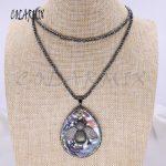 Fashion hematite beaded necklace with abalone & big bee pendant necklace shell stone pendant necklace <b>handmade</b> <b>jewelry</b> gift 4085
