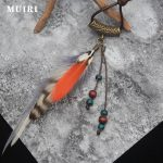 <b>Native</b> <b>American</b> Fringe Necklace Fashion Indian <b>Jewelry</b> Brand Colorful Feather Tassel Pendant Female Male Long Boho Necklace