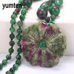 Natural Jade Necklace Emerald Flower <b>Handmade</b> Vintage Style Fine Clavicle Beads Chain Necklaces Pendants Women Girl Gift <b>Jewelry</b>