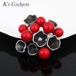 K'S Gadgets <b>Antique</b> Silver Color Hat Shaped Vintage Brooches Pins For Women Red Whtie Simulated Pearl <b>Jewelry</b> Stone Brooch