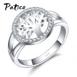 PATICO Hot Sale Finger Ring Bijoux 925 Sterling Silver Tree of Life AAA Zircon Wedding <b>Jewelry</b> For Women Party Gifts Wholesale