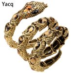 YACQ Stretch Snake Bracelet Armlet Upper Arm Cuff Women Punk Rock Crystal Bangle <b>Jewelry</b> Gold Silver Color Dropshipping A32