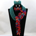 Amazing Army Teal Green Wedding Nigerian Jewelry Set African Beads Flower Necklace Set Asoebi Jewellery Free Shipping WD147