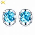 Hutang Round 5.0mm Genuine Swisss Blue Topaz Stud <b>Earrings</b> Solid 925 Sterling <b>Silver</b> Gemstone Jewelry Simply Style Women Gift