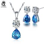 ORSA JEWELS Newest Special Gift Earrings Pendant <b>Necklace</b> <b>Jewelry</b> Sets with Ocean Blue Water Drop Cubic Zirconia for Women OS111