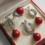 Women's Wedding Hot! noble new <b>jewelry</b> silver plated + 12mm vermilion red pearl pendant, earring, , ring set