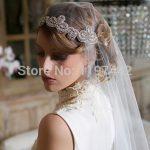New Bride Ribbon Hair Accessories <b>Wedding</b> <b>Jewelry</b> Tiara Headband hair accessories Headpiece with veil rhinestone headband H154