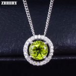 ZHHIRY Women Real Natural Peridot Gemstone Solid 925 Sterling <b>Silver</b> Necklace Pendant For Ladies and girls Genuine Fine <b>Jewelry</b>