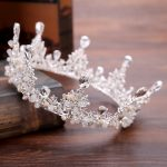Baroque Headband Princess <b>Handmade</b> White Crystal Round Crown Tiara Bridal Hair <b>Jewelry</b> For Women Charm Wedding Hair Accessories