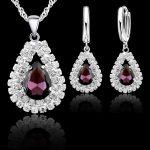 Jemmin New Women 925 Sterling <b>Silver</b> Bridal Wedding Jewelry Sets Fine Water Drop Pendants Necklaces <b>Earring</b> Set Accessory