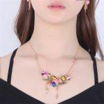French <b>Jewelry</b> Paris Enamel Glaze Monet Gardens French Fresh Various Flower Gem Women <b>Necklace</b> 2017 New Arrive