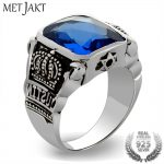 MetJakt Blue Topaz Rings Vintage Crown Rings Solid 925 <b>Sterling</b> <b>Silver</b> Ring for Men's <b>Jewelry</b> Boutique Collections