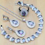 Classic Mystic Rainbow Zircon Women 925 Sterling Silver <b>Jewelry</b> Sets Earrings/Pendant/<b>Necklace</b>/Ring/Bracelet T199