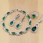 925 Sterling <b>Silver</b> Jewelry Green CZ White Crystal Jewelry Sets For Women Earrings/Pendant/Necklace/ Open Rings/<b>Bracelet</b>
