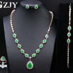 GZJY Noble Gold Color Green Zircon <b>Necklace</b> Ring Earrings Bracelet <b>Jewelry</b> Sets For Women Luxury Anniversary Wedding <b>Jewelry</b>