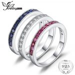 JewelryPalace three stack 1.8ct Round Created Ruby Sapphire Wedding Cocktail Band Eternity Ring 925 Sterling <b>Silver</b> Fine <b>Jewelry</b>