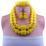 2017 Classic Yellow Nigerian African Beads <b>Jewelry</b> Set Wedding Party Dinner Fashion Dress <b>Jewelry</b> For Women Girls