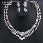 UILZ <b>Fashion</b> Luxury Design Sliver Color Water Drop Shape Cubic Zircon Earring Necklace Wedding <b>Jewelry</b> Set Women Elegant JMSP110
