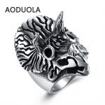 Stainless Steel Ring unicorn wide Punk Big Size rings Vintage Biker Large <b>Antique</b> Men's Rings For Seal men Rock mens <b>Jewelry</b>