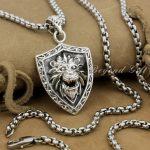 Lion Shield 925 Sterling <b>Silver</b> Mens Biker Rocker Punk Pendant 9R011(<b>Necklace</b> 24inch)