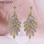 PATAYA New Women <b>Wedding</b> Party Noble Luxury <b>Jewelry</b> 585 Rose Gold Micro-wax Inlay Natural Zircon Big Leaf Long Stud Earrings