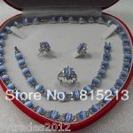 Free shipping ddh0458 Blue opal jewelry set crystal <b>silver</b> necklace bracelet <b>earring</b> ring(no box)