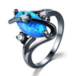 Black Plated <b>Antique</b> Vintage Blue Opal Finger Rings Fashion <b>Jewelry</b> With Synthetic Stone Cocktail Women Rings