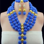 Nigerian Wedding African Beads <b>Jewelry</b> Set Royal Blue Gold-color African Costume <b>Jewelry</b> Sets <b>Handmade</b> Balls Beads