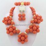 Orange Nigerian Wedding Bridal Beads <b>Necklace</b> Earrings <b>Jewelry</b> Sets African Beads <b>Jewelry</b> Sets HD4611