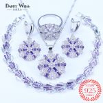 Trendy Snowflake Purple Cubic Zirconia White CZ 925 <b>Silver</b> Mark Jewelry Sets For Women Earrings/Pendant/Necklace/<b>Bracelet</b>/Rings