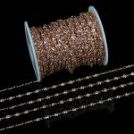 5 meter Clear White Cubic Zircon Rosary Chains <b>Jewelry</b>,Faceted Round CZ Pave Wire Wrapped Plated Rose Gold Links Chains Necklace