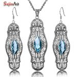 Szjinao Trendy Vintage Marquise <b>Silver</b> Blue Austrian Crystal Jewelry Sets For Women Punk Party Gift High Quality Jewelry Set
